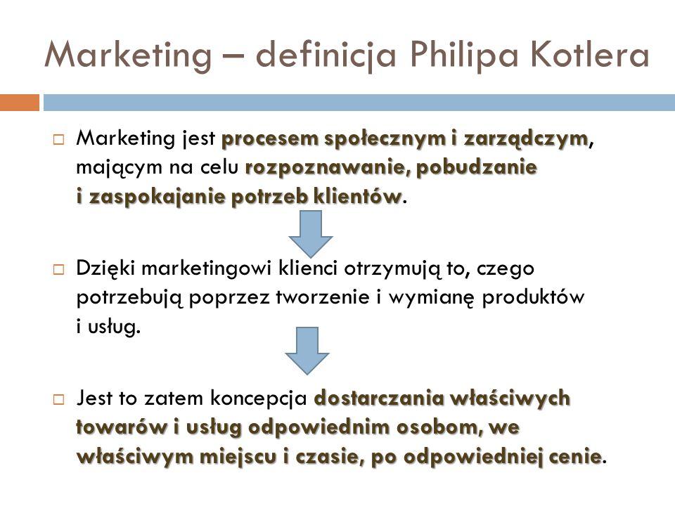 Marketing – definicja Philipa Kotlera procesem społecznym i zarządczym rozpoznawanie, pobudzanie i zaspokajanie potrzeb klientów  Marketing jest proc