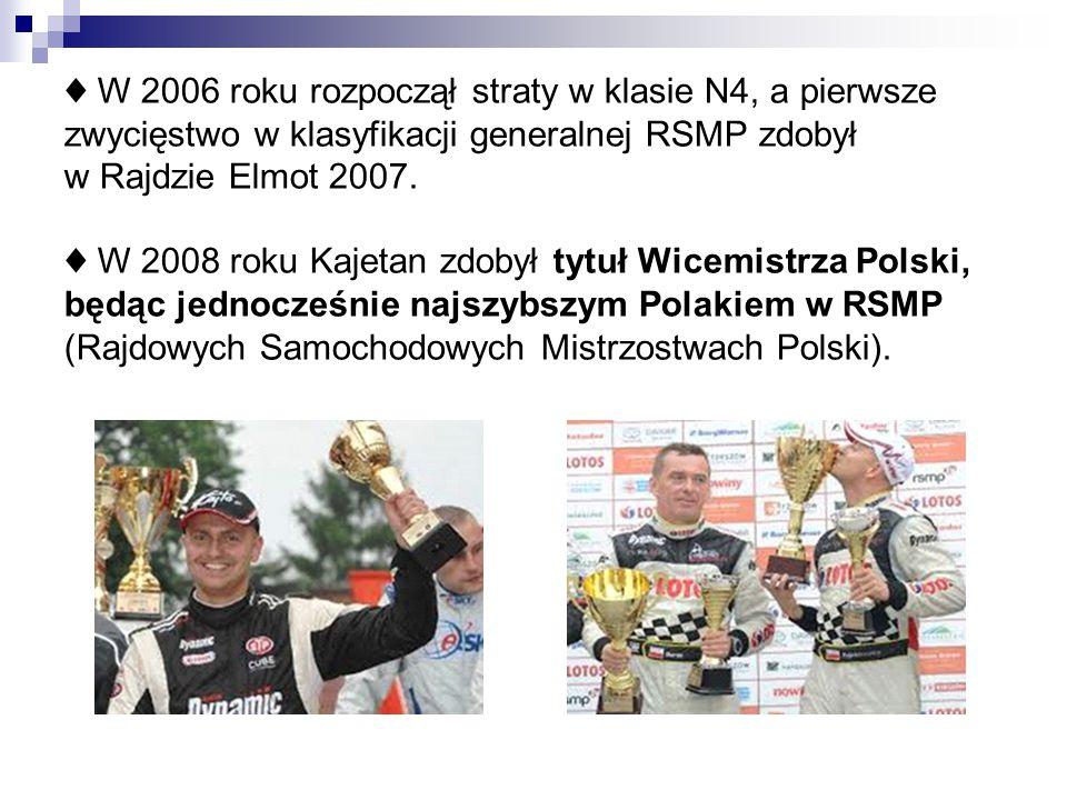 ♦ W 2006 roku rozpoczął straty w klasie N4, a pierwsze zwycięstwo w klasyfikacji generalnej RSMP zdobył w Rajdzie Elmot 2007. ♦ W 2008 roku Kajetan zd