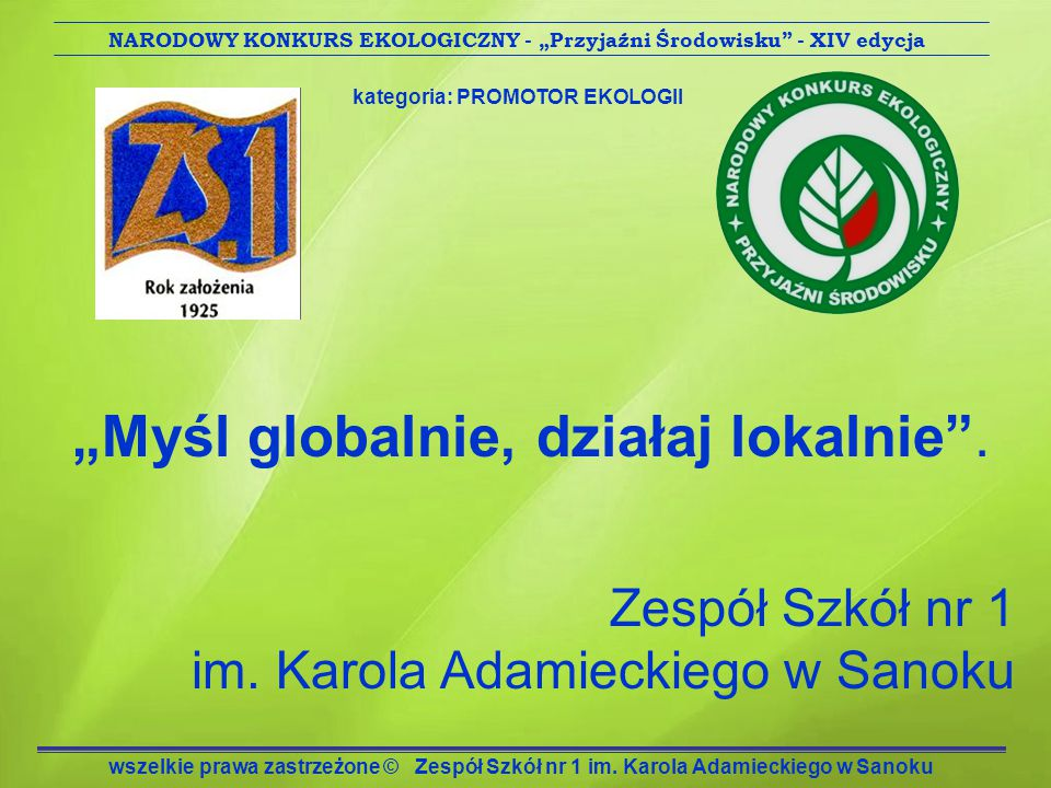 Adres: Zespół Szkół nr 1 38-500 Sanok ul.