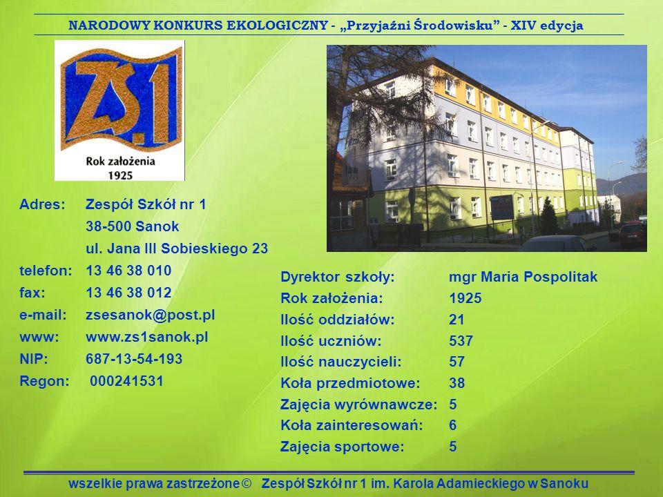 Menu – Nasze działania związane z ekologią Sukcesy w konkursach w roku szkolnym 2011/2012.