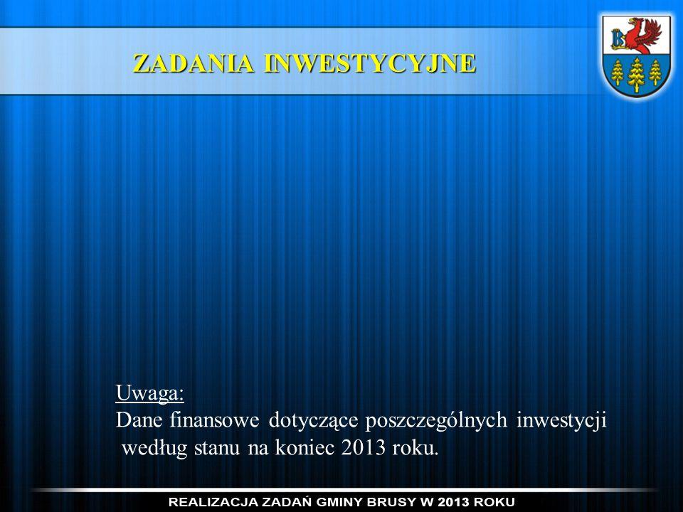 ZADANIA INWESTYCYJNE Uwaga: Dane finansowe dotyczące poszczególnych inwestycji według stanu na koniec 2013 roku.
