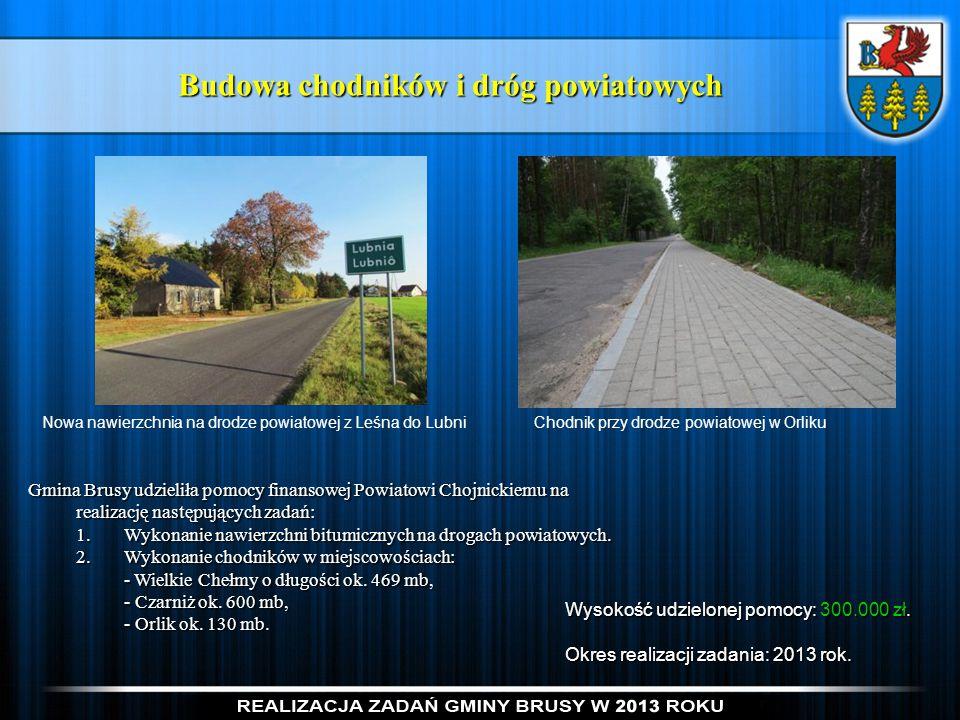 Budowa chodników i dróg powiatowych Gmina Brusy udzieliła pomocy finansowej Powiatowi Chojnickiemu na realizację następujących zadań: 1.Wykonanie nawi
