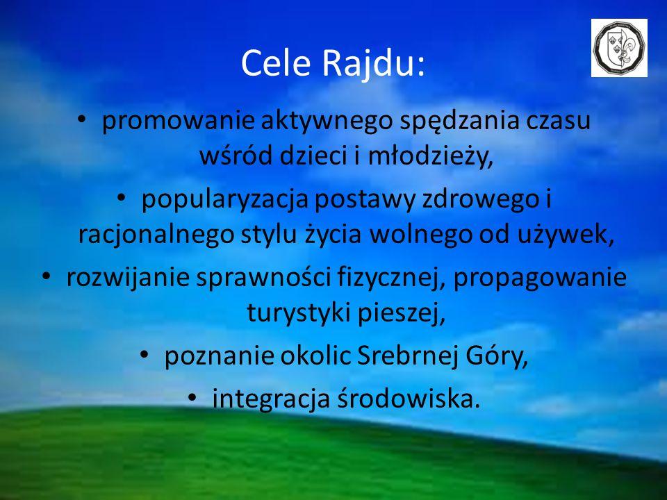 Cele Rajdu: promowanie aktywnego spędzania czasu wśród dzieci i młodzieży, popularyzacja postawy zdrowego i racjonalnego stylu życia wolnego od używek, rozwijanie sprawności fizycznej, propagowanie turystyki pieszej, poznanie okolic Srebrnej Góry, integracja środowiska.