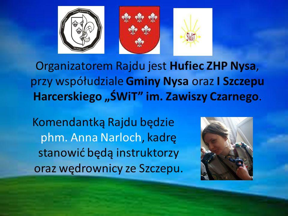 """Organizatorem Rajdu jest Hufiec ZHP Nysa, przy współudziale Gminy Nysa oraz I Szczepu Harcerskiego """"ŚWiT im."""