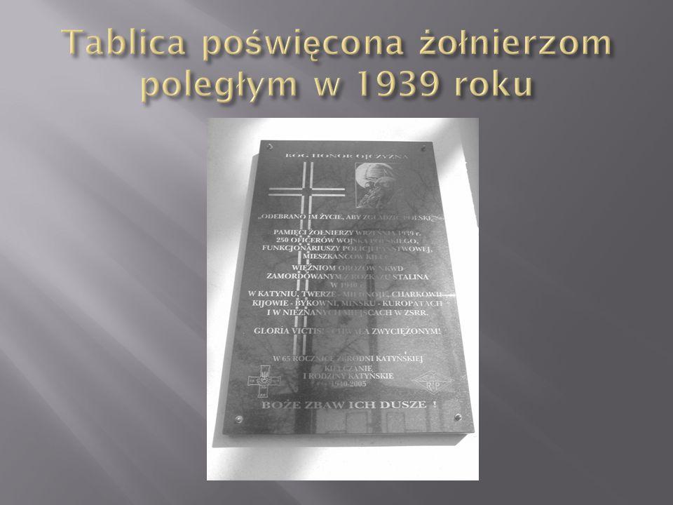  Tablica umieszczona jest na ścianie Katedry w Kielcach.