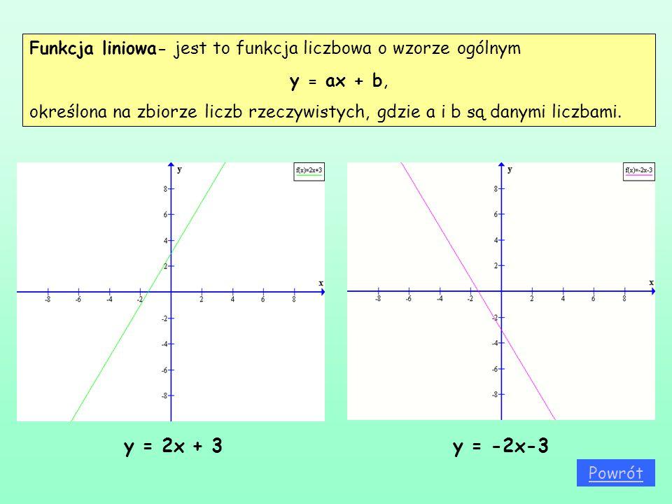 Funkcja liniowa- jest to funkcja liczbowa o wzorze ogólnym y = ax + b, określona na zbiorze liczb rzeczywistych, gdzie a i b są danymi liczbami. y = 2