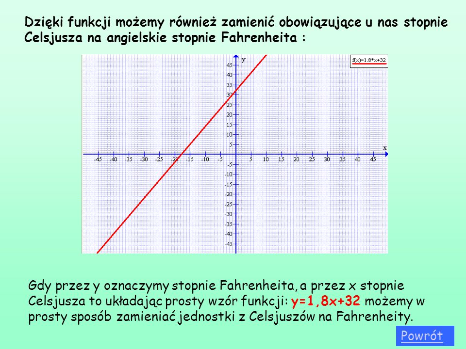 Dzięki funkcji możemy również zamienić obowiązujące u nas stopnie Celsjusza na angielskie stopnie Fahrenheita : Gdy przez y oznaczymy stopnie Fahrenhe