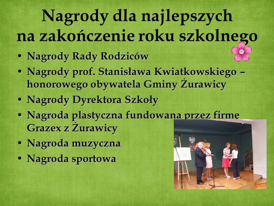 Nagrody dla najlepszych na zakończenie roku szkolnego Nagrody Rady Rodziców Nagrody Rady Rodziców Nagrody prof. Stanisława Kwiatkowskiego – honorowego