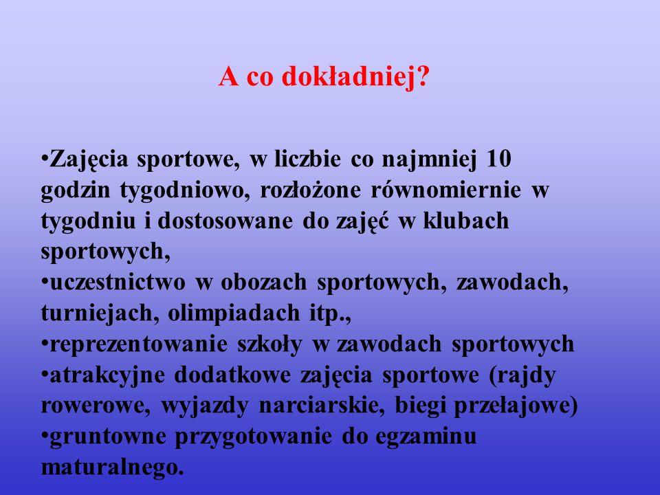 Zajęcia sportowe, w liczbie co najmniej 10 godzin tygodniowo, rozłożone równomiernie w tygodniu i dostosowane do zajęć w klubach sportowych, uczestnic
