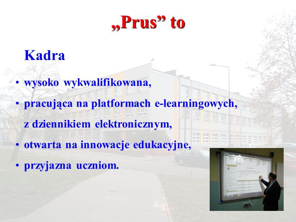 Kadra wysoko wykwalifikowana, pracująca na platformach e-learningowych, z dziennikiem elektronicznym, otwarta na innowacje edukacyjne, przyjazna uczni