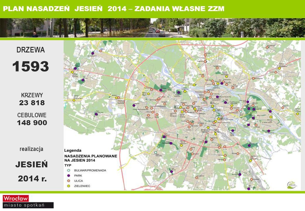 PLAN NASADZEŃ JESIEŃ 2014 – ZADANIA WŁASNE ZZM realizacja JESIEŃ 2014 r.