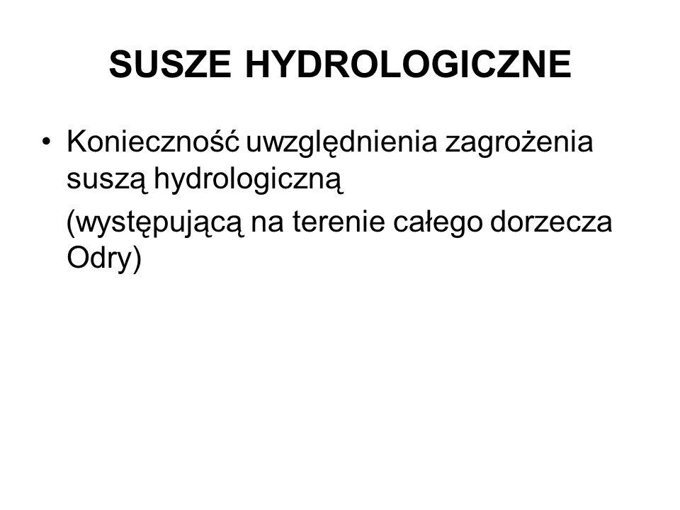 SUSZE HYDROLOGICZNE Konieczność uwzględnienia zagrożenia suszą hydrologiczną (występującą na terenie całego dorzecza Odry)