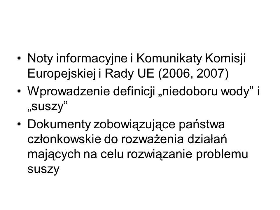 """Noty informacyjne i Komunikaty Komisji Europejskiej i Rady UE (2006, 2007) Wprowadzenie definicji """"niedoboru wody"""" i """"suszy"""" Dokumenty zobowiązujące p"""