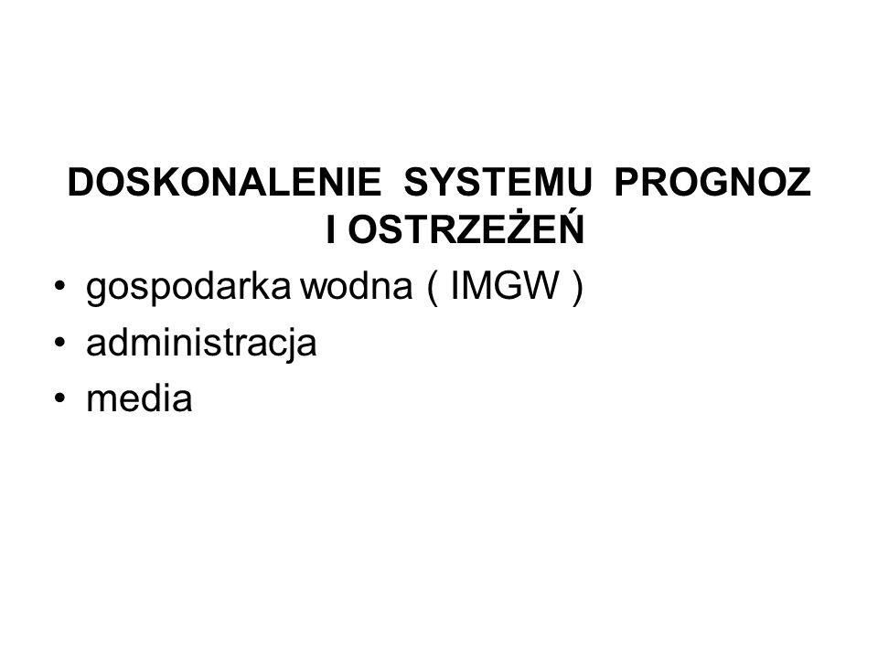 DOSKONALENIE SYSTEMU PROGNOZ I OSTRZEŻEŃ gospodarka wodna ( IMGW ) administracja media