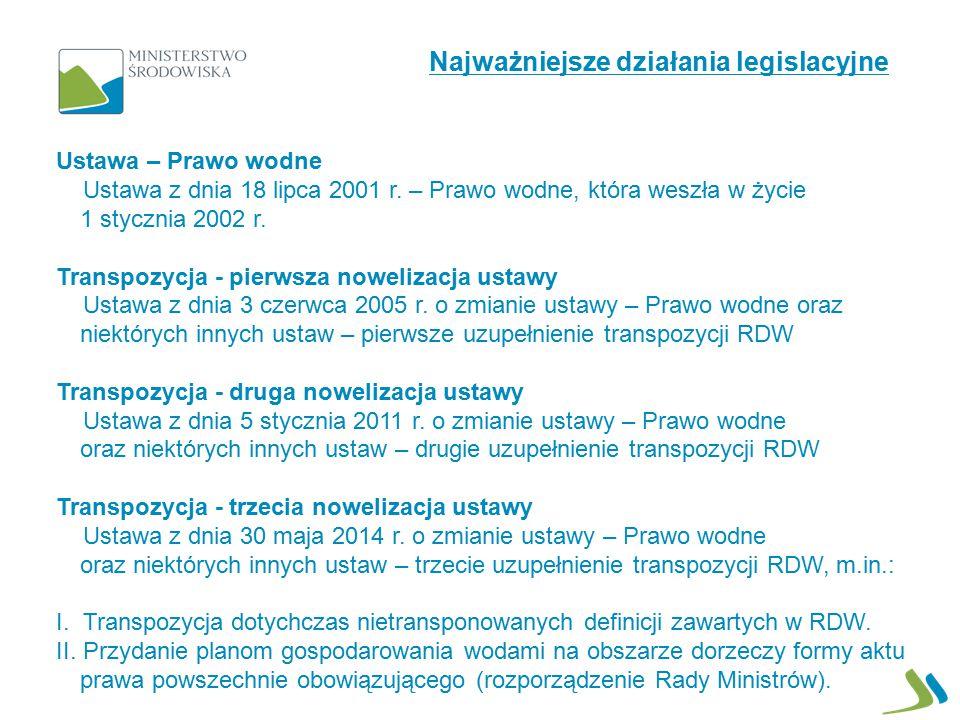 Ustawa – Prawo wodne Ustawa z dnia 18 lipca 2001 r. – Prawo wodne, która weszła w życie 1 stycznia 2002 r. Transpozycja - pierwsza nowelizacja ustawy