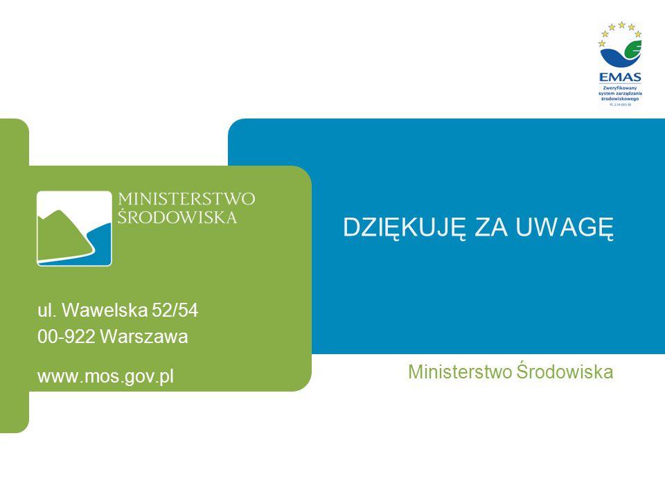 DZIĘKUJĘ ZA UWAGĘ Ministerstwo Środowiska ul. Wawelska 52/54 00-922 Warszawa www.mos.gov.pl