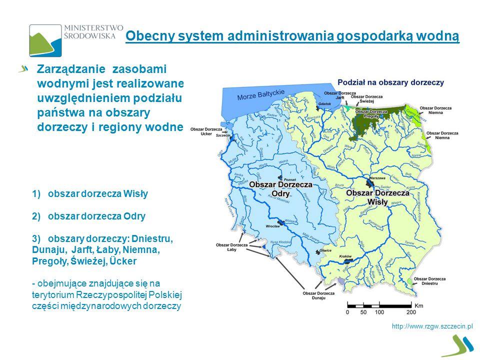 Zarządzanie zasobami wodnymi jest realizowane z uwzględnieniem podziału państwa na obszary dorzeczy i regiony wodne 1) obszar dorzecza Wisły 2) obszar