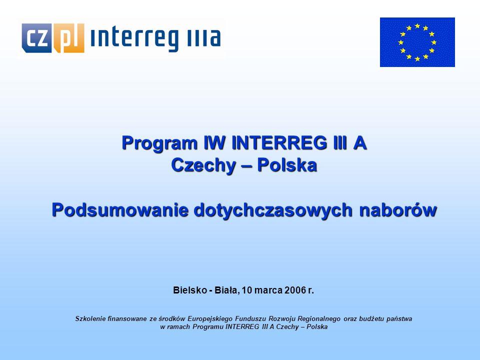 Program IW INTERREG III A Czechy – Polska Podsumowanie dotychczasowych naborów Bielsko - Biała, 10 marca 2006 r.
