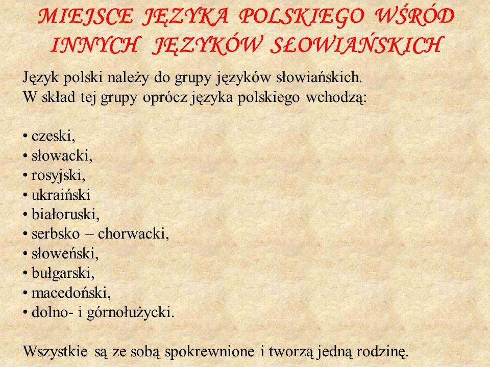 MIEJSCE JĘZYKA POLSKIEGO WŚRÓD INNYCH JĘZYKÓW SŁOWIAŃSKICH Język polski należy do grupy języków słowiańskich. W skład tej grupy oprócz języka polskieg