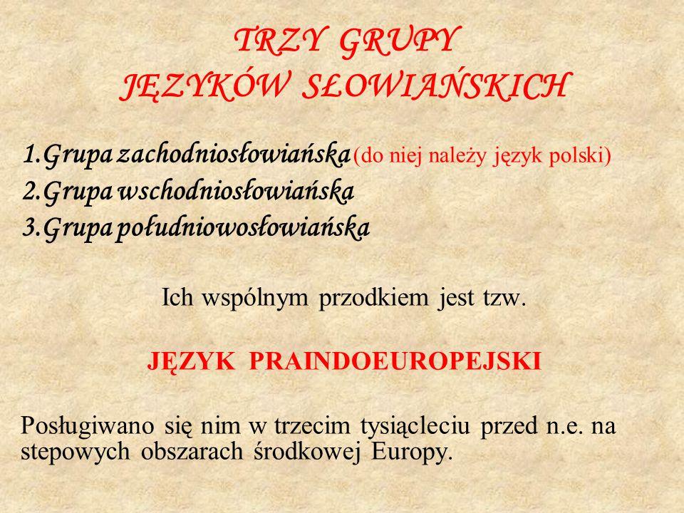 TRZY GRUPY JĘZYKÓW SŁOWIAŃSKICH 1.Grupa zachodniosłowiańska (do niej należy język polski) 2.Grupa wschodniosłowiańska 3.Grupa południowosłowiańska Ich