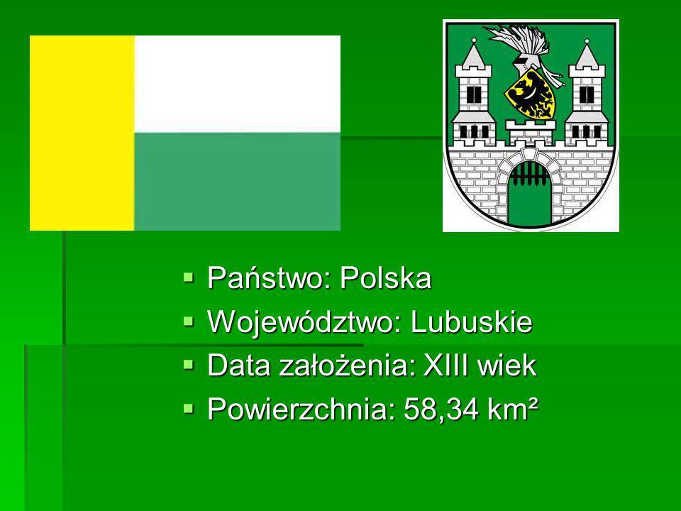  Państwo: Polska  Województwo: Lubuskie  Data założenia: XIII wiek  Powierzchnia: 58,34 km²