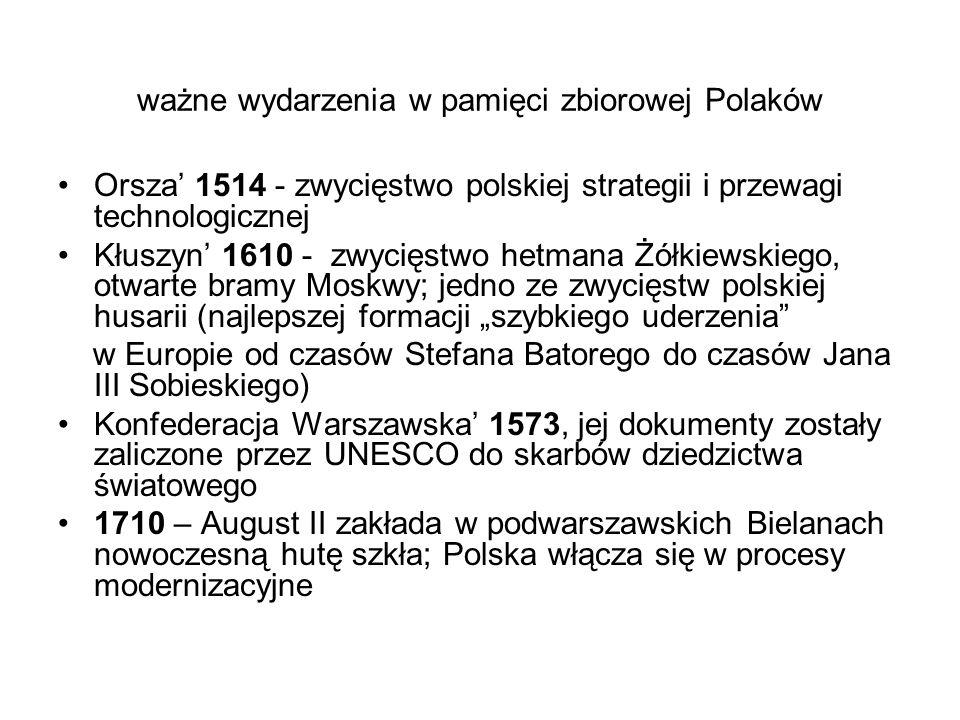 ważne wydarzenia w pamięci zbiorowej Polaków Orsza' 1514 - zwycięstwo polskiej strategii i przewagi technologicznej Kłuszyn' 1610 - zwycięstwo hetmana
