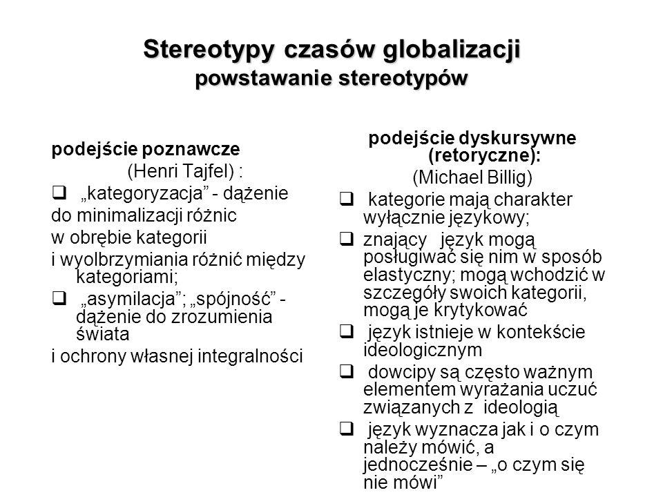"""Stereotypy czasów globalizacji powstawanie stereotypów podejście poznawcze (Henri Tajfel) :  """"kategoryzacja"""" - dążenie do minimalizacji różnic w obrę"""