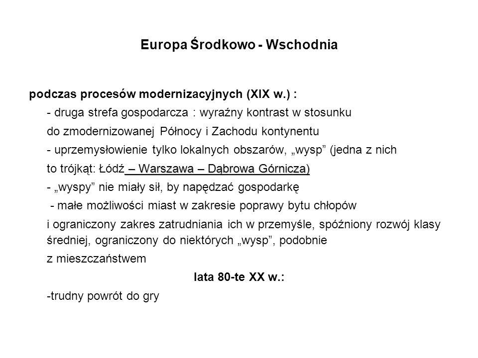 Europa Środkowo - Wschodnia podczas procesów modernizacyjnych (XIX w.) : - druga strefa gospodarcza : wyraźny kontrast w stosunku do zmodernizowanej P