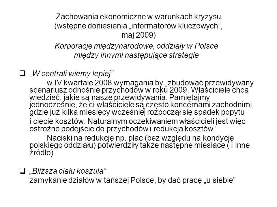 """Zachowania ekonomiczne w warunkach kryzysu (wstępne doniesienia """"informatorów kluczowych"""", maj 2009) Korporacje międzynarodowe, oddziały w Polsce międ"""