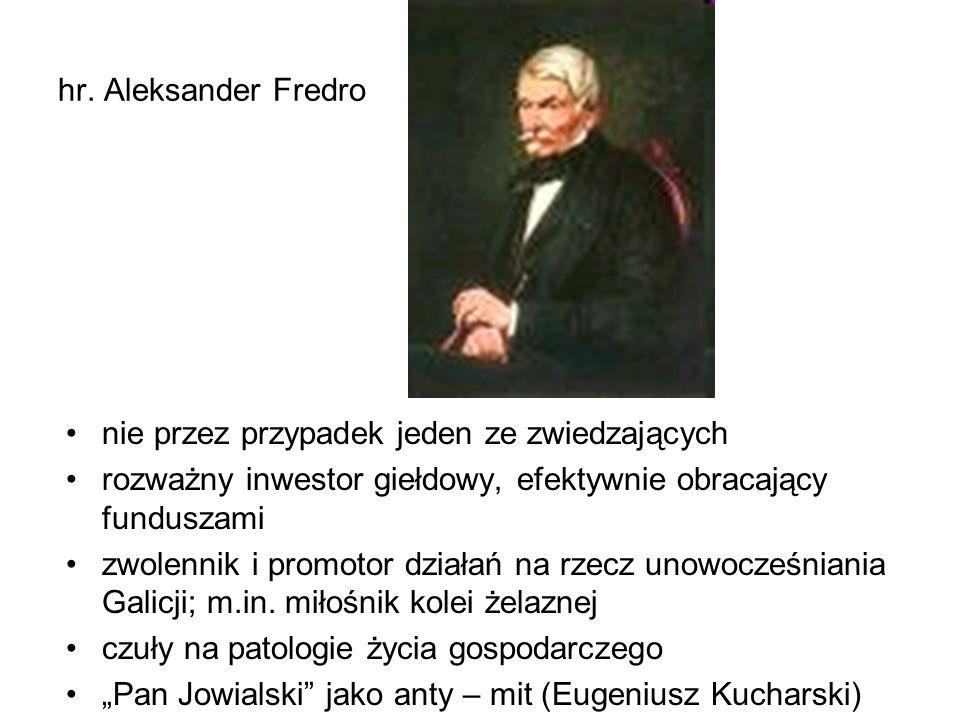 hr. Aleksander Fredro nie przez przypadek jeden ze zwiedzających rozważny inwestor giełdowy, efektywnie obracający funduszami zwolennik i promotor dzi