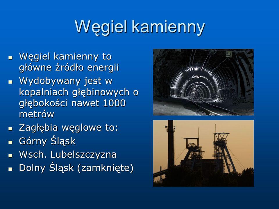 Węgiel kamienny Węgiel kamienny to główne źródło energii Węgiel kamienny to główne źródło energii Wydobywany jest w kopalniach głębinowych o głębokości nawet 1000 metrów Wydobywany jest w kopalniach głębinowych o głębokości nawet 1000 metrów Zagł ę bia węglowe to: Zagł ę bia węglowe to: Górny Śląsk Górny Śląsk Wsch.