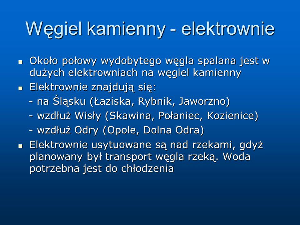 Węgiel kamienny - elektrownie Około połowy wydobytego węgla spalana jest w dużych elektrowniach na węgiel kamienny Około połowy wydobytego węgla spalana jest w dużych elektrowniach na węgiel kamienny Elektrownie znajdują się: Elektrownie znajdują się: - na Śląsku (Łaziska, Rybnik, Jaworzno) - na Śląsku (Łaziska, Rybnik, Jaworzno) - wzdłuż Wisły (Skawina, Połaniec, Kozienice) - wzdłuż Wisły (Skawina, Połaniec, Kozienice) - wzdłuż Odry (Opole, Dolna Odra) - wzdłuż Odry (Opole, Dolna Odra) Elektrownie usytuowane są nad rzekami, gdyż planowany był transport węgla rzeką.