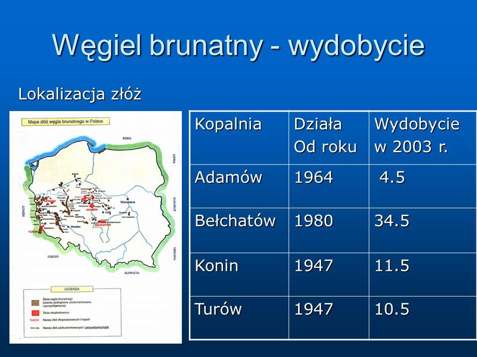 Węgiel brunatny - wydobycie Lokalizacja złóż KopalniaDziała Od roku Wydobycie w 2003 r. Adamów1964 4.5 4.5 Bełchatów198034.5 Konin194711.5 Turów194710