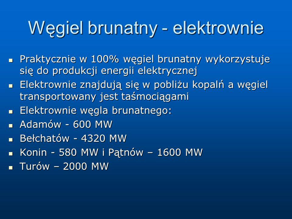 Węgiel brunatny - elektrownie Praktycznie w 100% węgiel brunatny wykorzystuje się do produkcji energii elektrycznej Praktycznie w 100% węgiel brunatny wykorzystuje się do produkcji energii elektrycznej Elektrownie znajdują się w pobliżu kopalń a węgiel transportowany jest taśmociągami Elektrownie znajdują się w pobliżu kopalń a węgiel transportowany jest taśmociągami Elektrownie węgla brunatnego: Elektrownie węgla brunatnego: Adamów - 600 MW Adamów - 600 MW Bełchatów - 4320 MW Bełchatów - 4320 MW Konin - 580 MW i Pątnów – 1600 MW Konin - 580 MW i Pątnów – 1600 MW Turów – 2000 MW Turów – 2000 MW