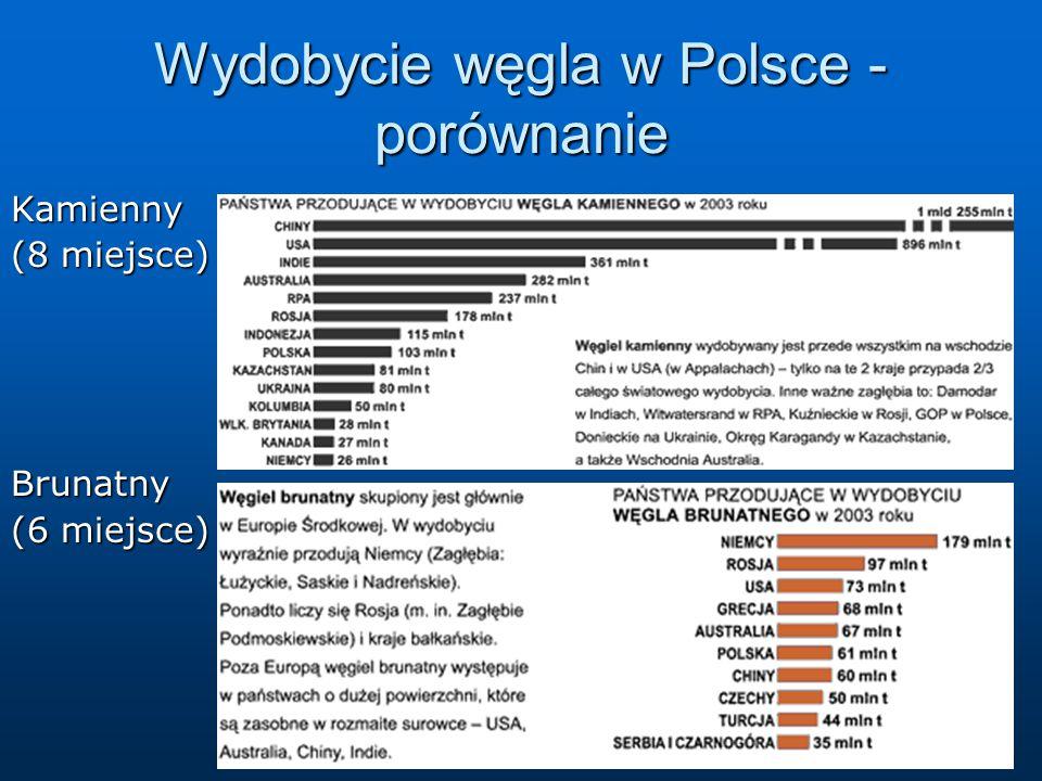 Wydobycie węgla w Polsce - porównanie Kamienny (8 miejsce) Brunatny (6 miejsce)