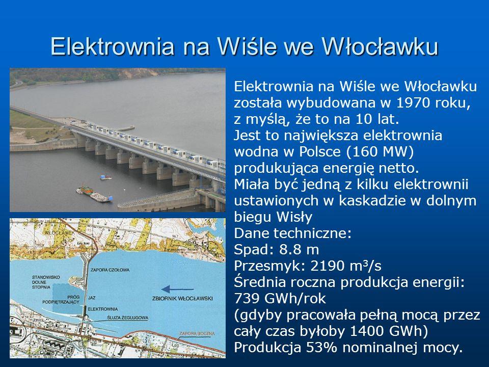Elektrownia na Wiśle we Włocławku Elektrownia na Wiśle we Włocławku została wybudowana w 1970 roku, z myślą, że to na 10 lat. Jest to największa elekt