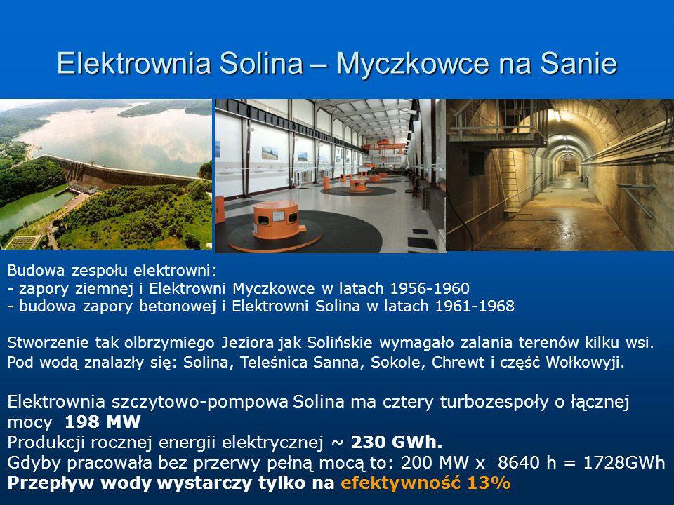 Elektrownia Solina – Myczkowce na Sanie Budowa zespołu elektrowni: - zapory ziemnej i Elektrowni Myczkowce w latach 1956-1960 - budowa zapory betonowej i Elektrowni Solina w latach 1961-1968 Stworzenie tak olbrzymiego Jeziora jak Solińskie wymagało zalania terenów kilku wsi.
