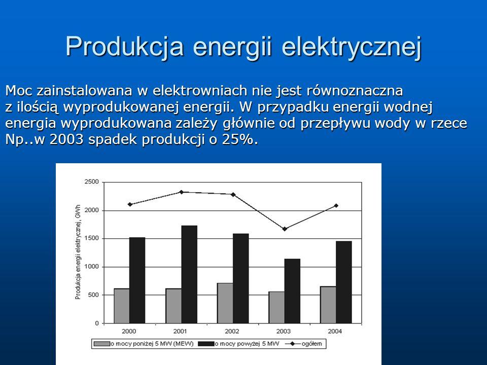 Produkcja energii elektrycznej Moc zainstalowana w elektrowniach nie jest równoznaczna z ilością wyprodukowanej energii. W przypadku energii wodnej en