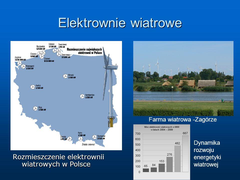 Elektrownie wiatrowe Rozmieszczenie elektrownii wiatrowych w Polsce Farma wiatrowa -Zagórze Dynamika rozwoju energetyki wiatrowej