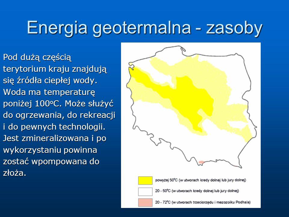 Energia geotermalna - zasoby Pod dużą częścią terytorium kraju znajdują się źródła ciepłej wody. Woda ma temperaturę poniżej 100 o C. Może służyć do o