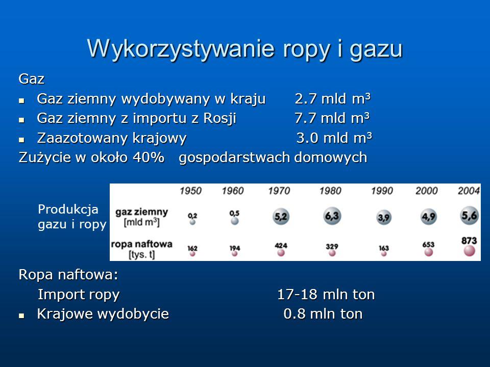 Wykorzystywanie ropy i gazu Gaz Gaz ziemny wydobywany w kraju 2.7 mld m 3 Gaz ziemny wydobywany w kraju 2.7 mld m 3 Gaz ziemny z importu z Rosji 7.7 mld m 3 Gaz ziemny z importu z Rosji 7.7 mld m 3 Zaazotowany krajowy 3.0 mld m 3 Zaazotowany krajowy 3.0 mld m 3 Zużycie w około 40% gospodarstwach domowych Ropa naftowa: Import ropy 17-18 mln ton Import ropy 17-18 mln ton Krajowe wydobycie 0.8 mln ton Krajowe wydobycie 0.8 mln ton Produkcja gazu i ropy