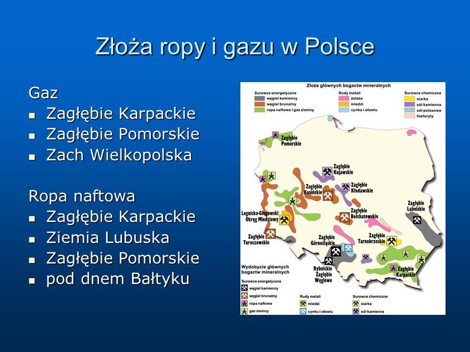 Złoża ropy i gazu w Polsce Gaz Zagłębie Karpackie Zagłębie Karpackie Zagłębie Pomorskie Zagłębie Pomorskie Zach Wielkopolska Zach Wielkopolska Ropa na