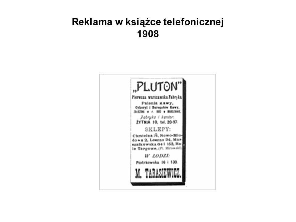 Reklama w książce telefonicznej 1908