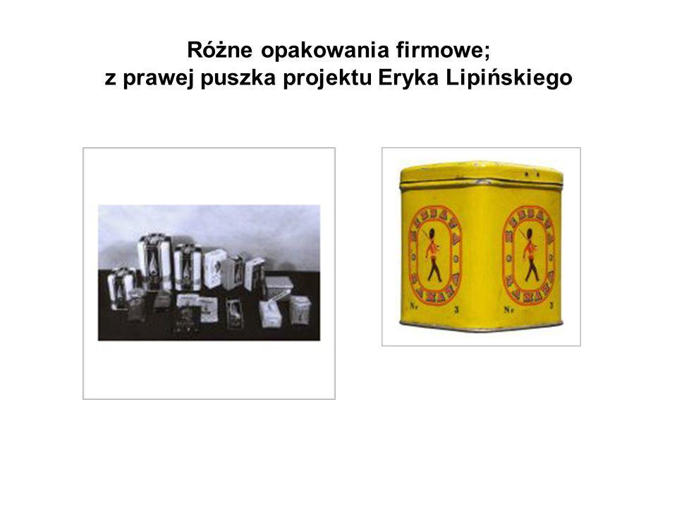 Różne opakowania firmowe; z prawej puszka projektu Eryka Lipińskiego
