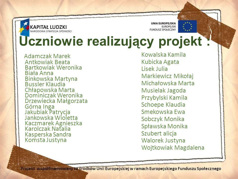 Uczniowie realizujący projekt : Adamczak Marek Antkowiak Beata Bartkowiak Weronika Biała Anna Binkowska Martyna Bussler Klaudia Chłapowska Marta Domin