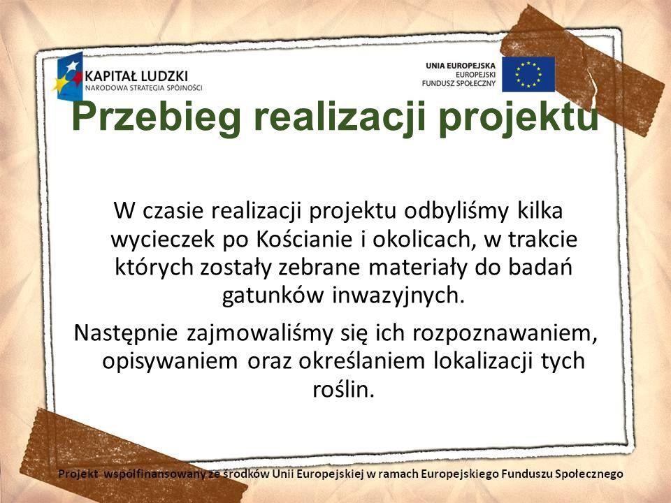 Przebieg realizacji projektu W czasie realizacji projektu odbyliśmy kilka wycieczek po Kościanie i okolicach, w trakcie których zostały zebrane materi
