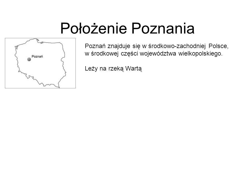 Położenie Poznania Poznań znajduje się w środkowo-zachodniej Polsce, w środkowej części województwa wielkopolskiego. Leży na rzeką Wartą