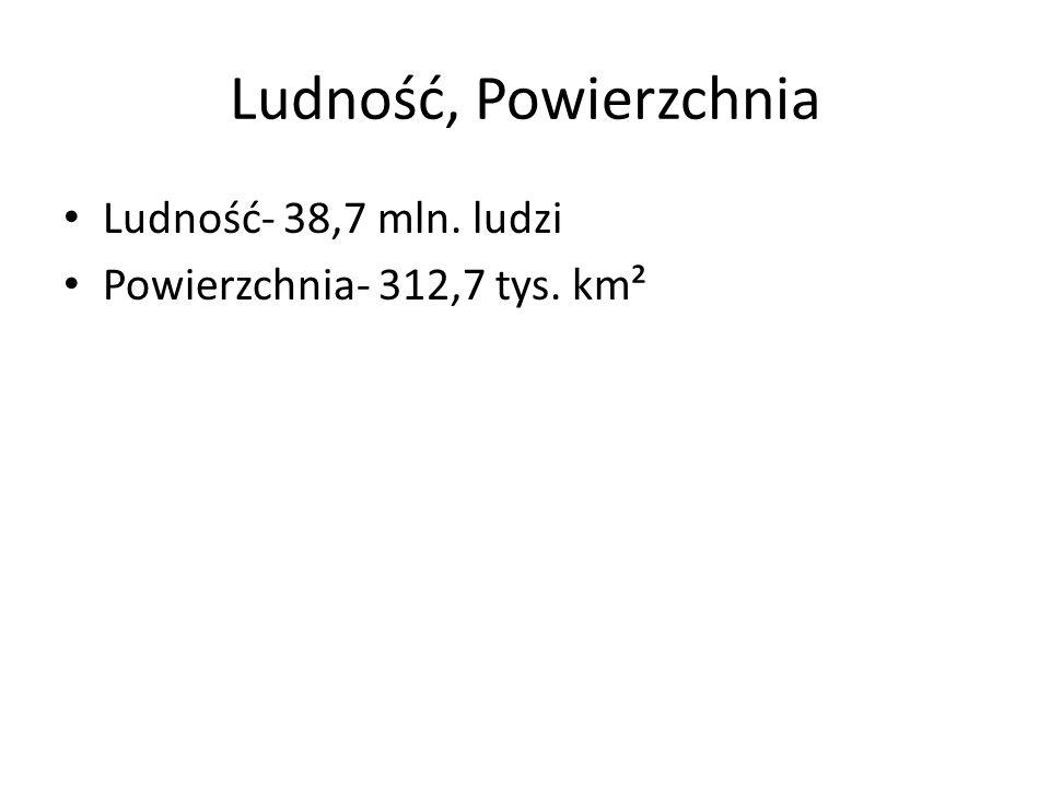 Ludność, Powierzchnia Ludność- 38,7 mln. ludzi Powierzchnia- 312,7 tys. km²