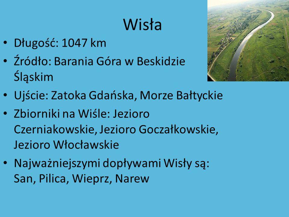 Wisła Długość: 1047 km Źródło: Barania Góra w Beskidzie Śląskim Ujście: Zatoka Gdańska, Morze Bałtyckie Zbiorniki na Wiśle: Jezioro Czerniakowskie, Je