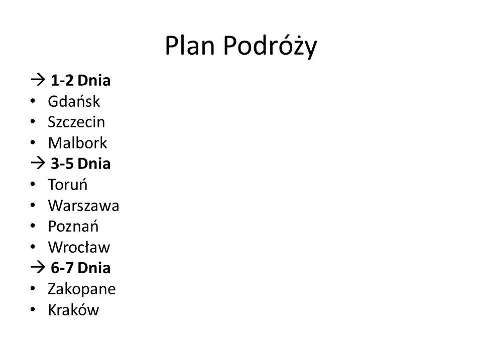  1-2 Dnia Gdańsk Szczecin Malbork  3-5 Dnia Toruń Warszawa Poznań Wrocław  6-7 Dnia Zakopane Kraków Plan Podróży